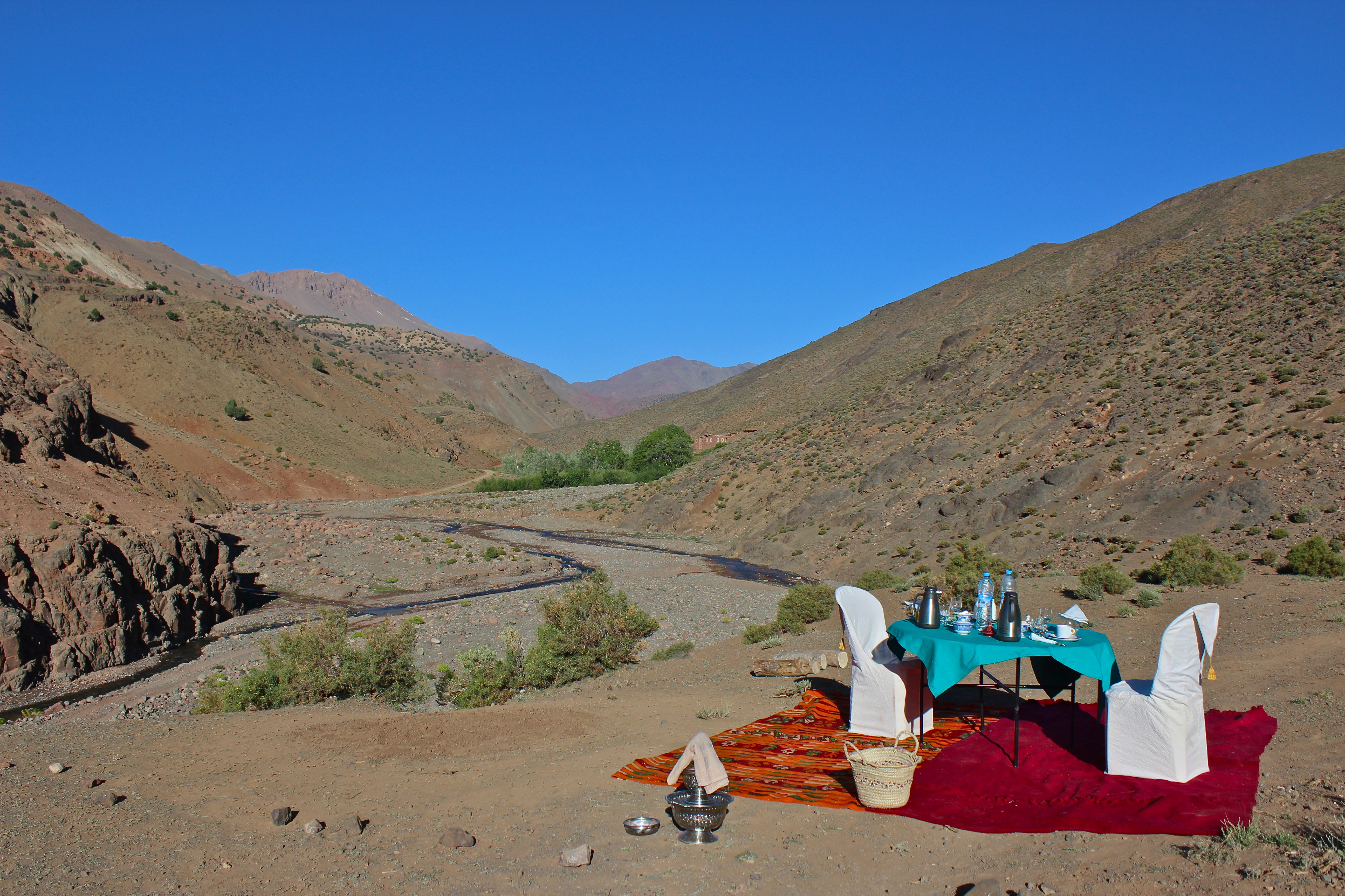 Breakfast of Berber pancakes in the Valley of Roses, High Atlas Mountains, Morocco