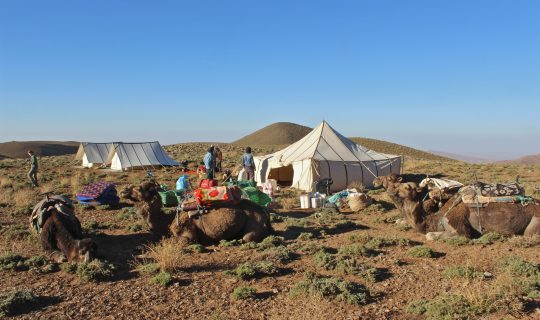 Camp on the Tatarart pastures, High Atlas mountains, Morocco